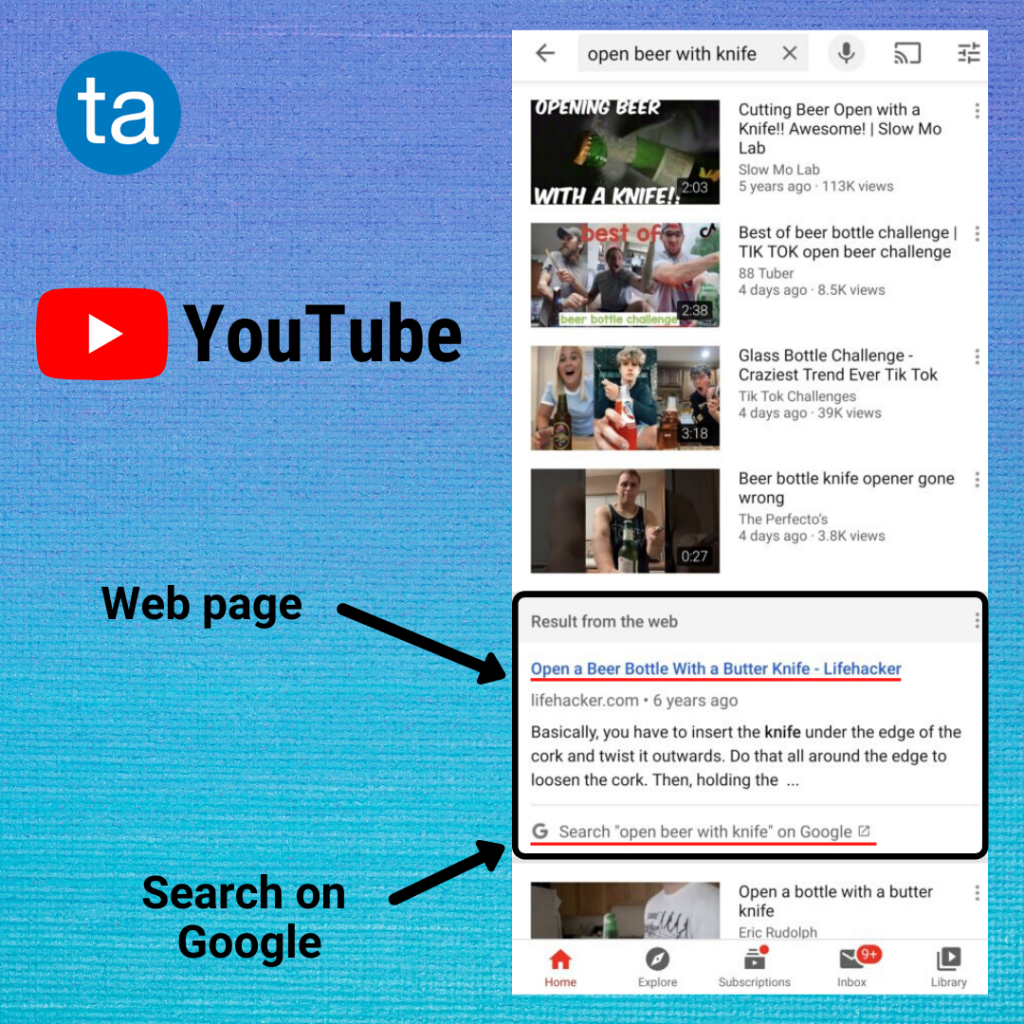 web pages in youtube